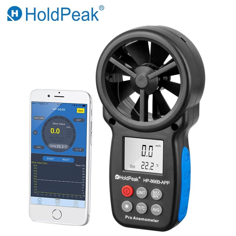 HoldPeak HP-866B-APP Digital Anemometer With Mobile APP Wind Speed Meter Measures Temperature Wind Chill Backlight Anemometer