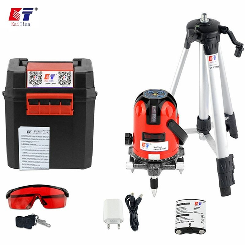 KaiTian Laser Level Tripod 360 Rotary Slash Function with Outdoor 635nm 5 Lines 6 Points Level EU Self-Leveling Livella Laser