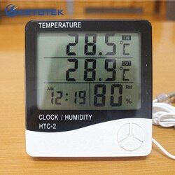 Ketotek Digital Thermometer Hygrometer Electronic LCD Temperature Humidity Meter Weather Station Home Indoor Outdoor Clock HTC-2