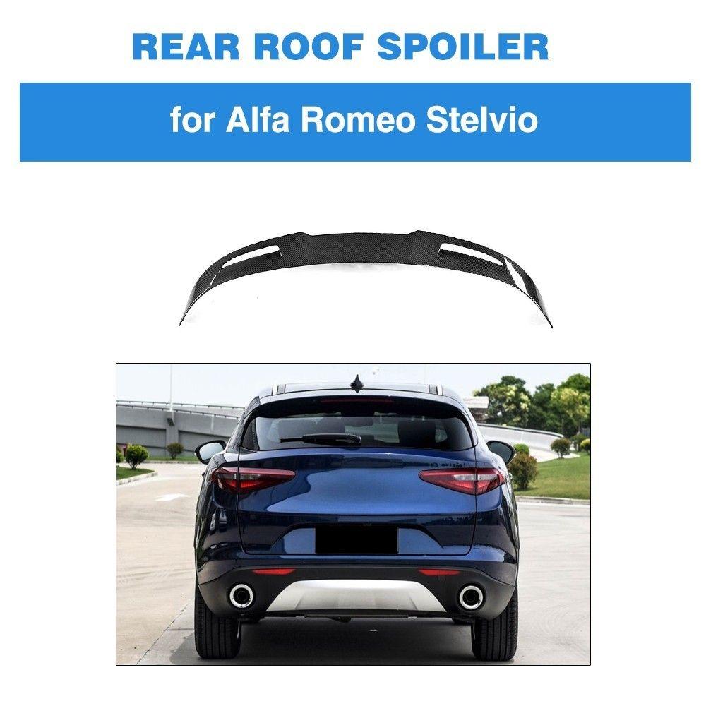 Carbon Fiber Rear Roof Window Lip Spoiler for Alfa Romeo Stelvio 2017 2018