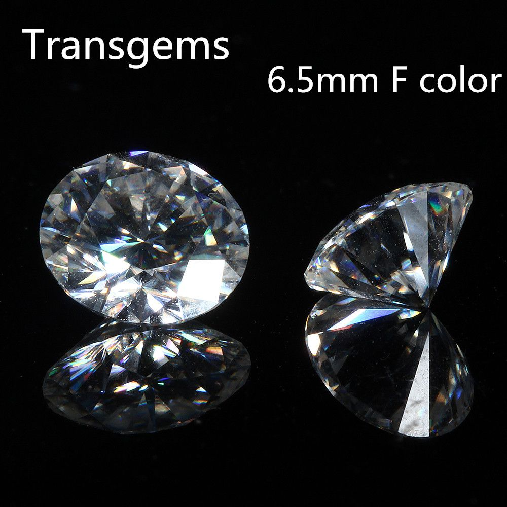 TransGem 6.5mm 1ct Carat F Colorless Round Brilliant Cut Moissanite Loose Lab Diamond Gemstone Test as positive 1pcs