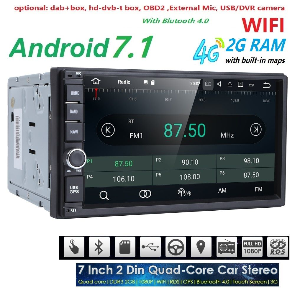 2G RAM Android 7.1 Auto Radio Quad Core 7Inch 2DIN Universal Car NO DVD player GPS Stereo Audio Head unit Support DAB DVR OBD BT