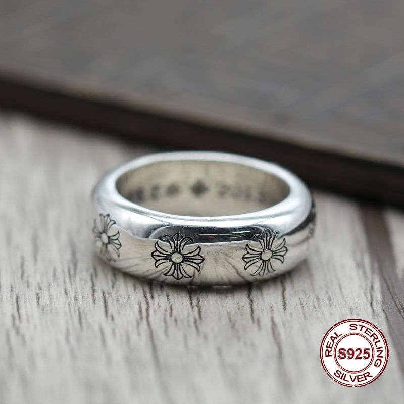 S925 pure silver men's ring personality Do old restoring ancient ways The punk style The crusader's simple and closed classic