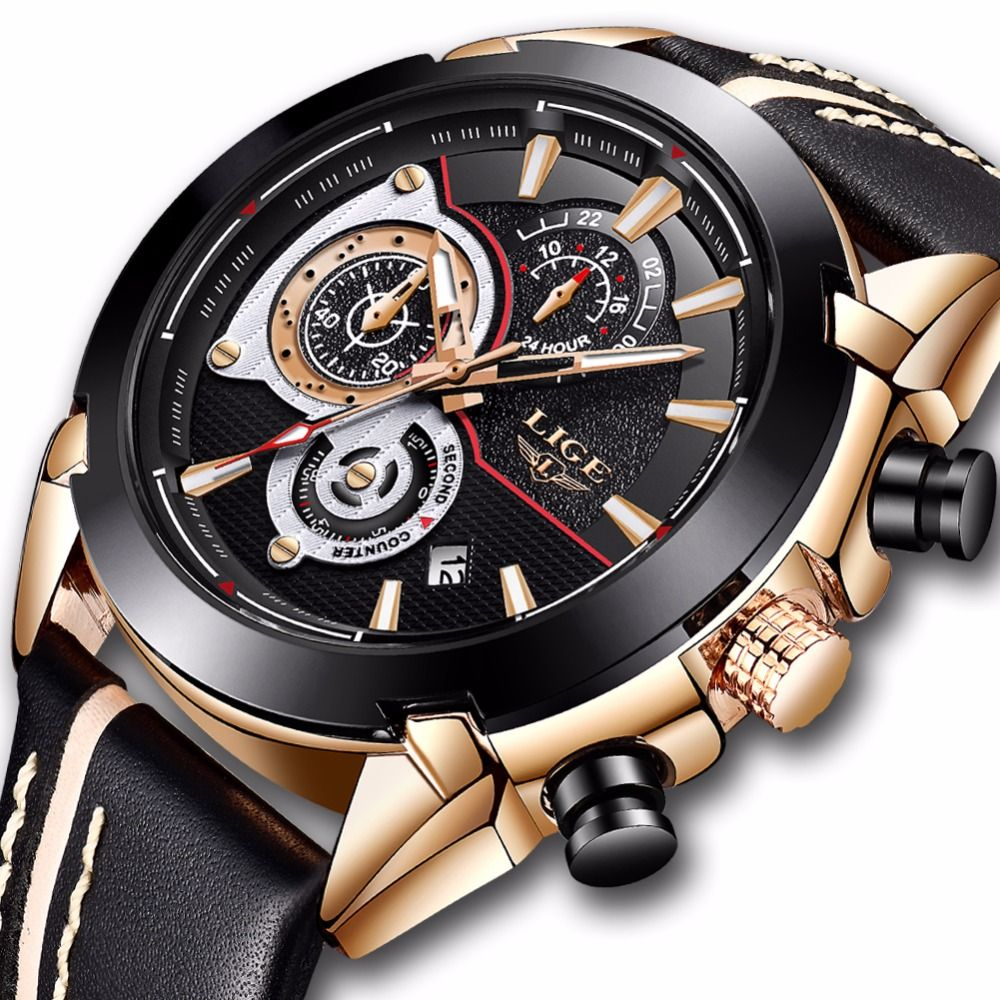 Relojes Hombre 2018 New LIGE Fashion Sports Mens Watches Top Brand Luxury Leather Quartz Watch Men Military Waterproof Clock+Box