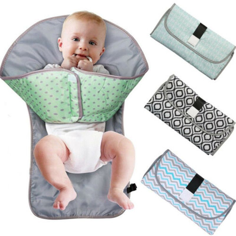 3-in-1 Multifunctional Portable Infant Baby Foldable Urine Mat Waterproof Nappy Bag Diaper Changing Cover Pad Travel Outdoor