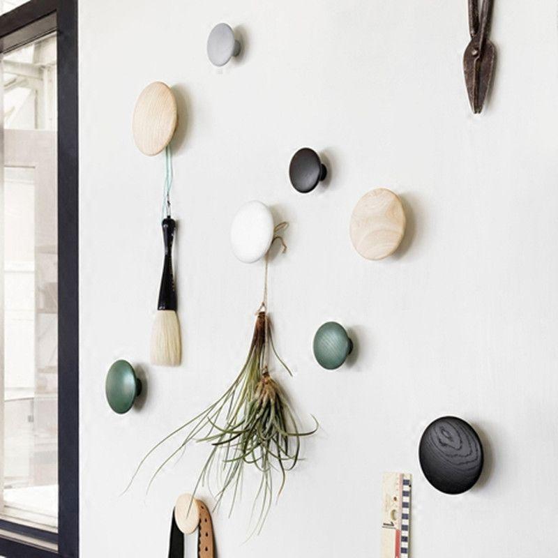 Décoration murale personnalisée mode créative en bois murale ronde crochet broche simple à la main bouton décoratif décoration de la maison