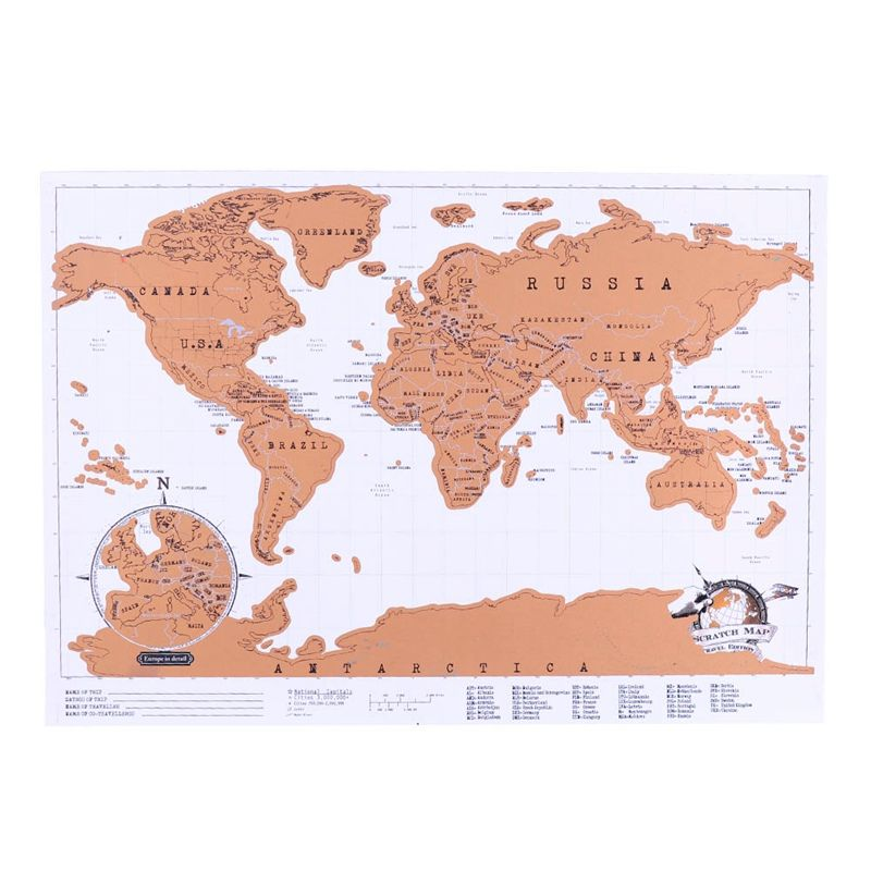 1 Pcs New Creative Travel Scratch Off Map Personalized World Map Stationary Supply