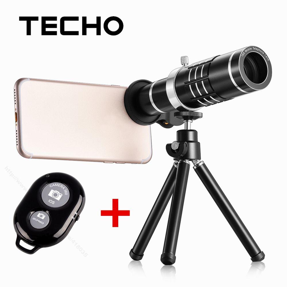 TECHO Universel Clip Télescope 18X Zoom Optique Téléphone Lentille Avec Trépied et Bluetooth Télécommande Pour iPhone Samsung Téléphone Portable
