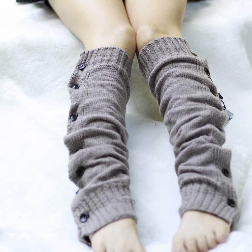 Feitong зимние вязаные Гетры для девочек для Сапоги и ботинки для девочек женские облегающие высокие Гетры для девочек стрейч вязать кнопку за...