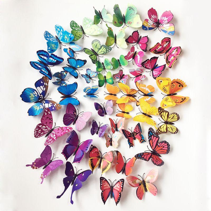 72 шт. бабочки Наклейки на стену Домашний Декор Книги по искусству наклейки для стен для детской комнаты Наклейки на стену Кухня стены Стикер...