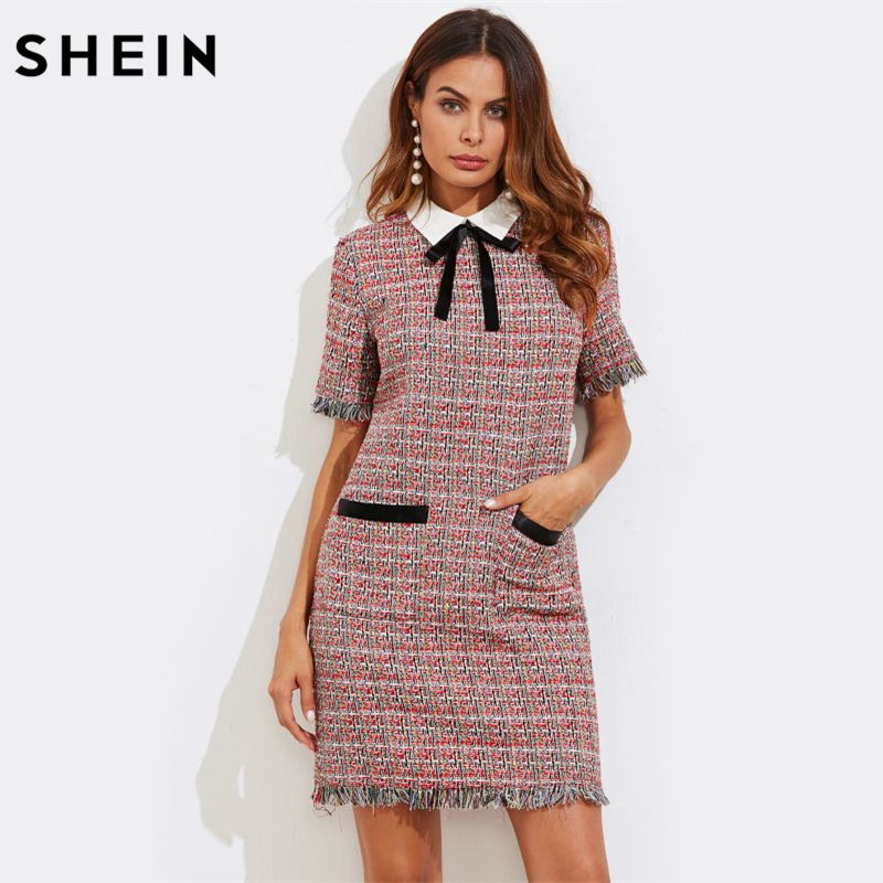 SHEIN Contrast Bow Neck Fringe Trim Tweed Straight Dress Fall Multicolor Contrast Collar Short Sleeve Elegant Dress