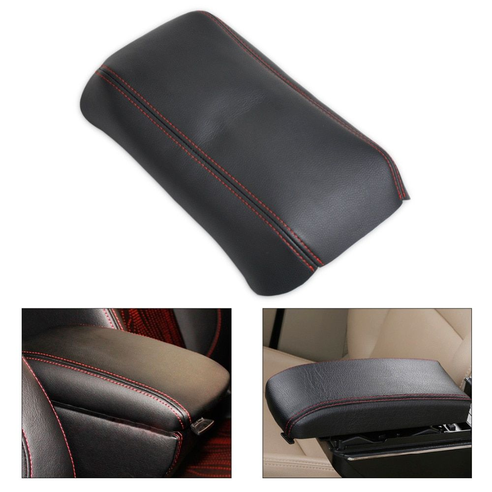 DWCX 1Pc Leather New Front Console Lid Armrest Cover for Honda Accord 2003 2004 2005 2006 2007 DIY Black Leather Red Stitching