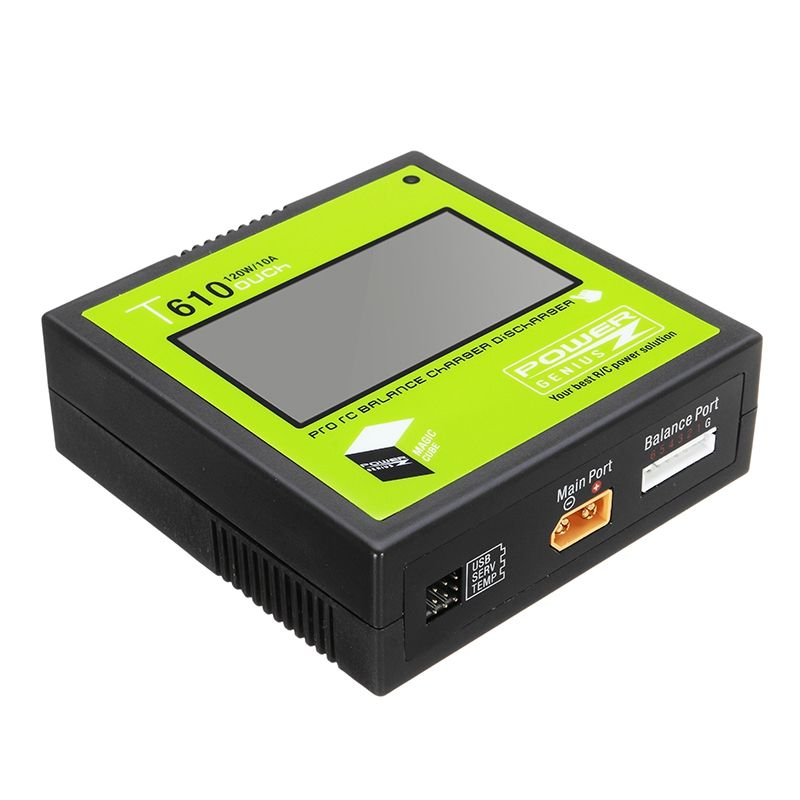 PG T610 120W 10A Lipo Battery Balance Charger 3.2 Inch Touch Screen Support 4.35-4.40V LiHV for RC Models Toys Charging