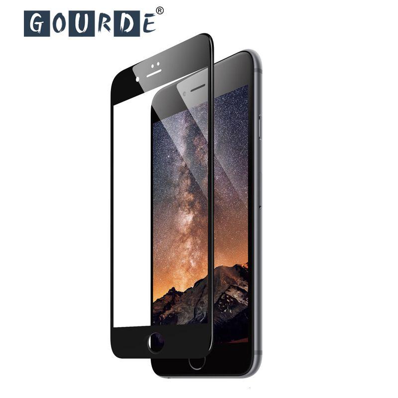 Gourde 3D Plein-trempé Verre De Protection pour iphone 7 plus Bord Rond protecteur d'écran pour iphone 6 Plus 6 s 8 plus XS Max Verre