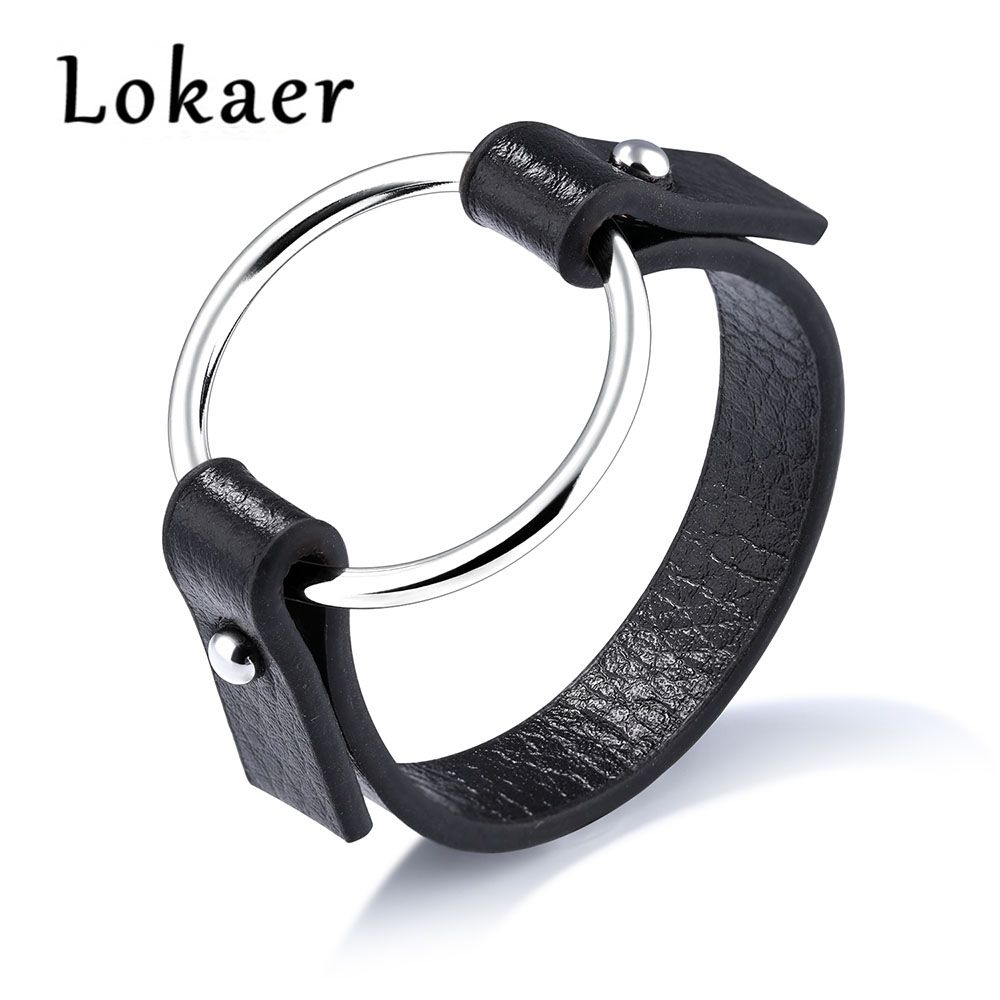 Lokaer Exaggerated Fashion Simple Large Circle Hollow Stainless Steel Leather Wrap Bracelets Bangles Jewelry For Women LPH1148