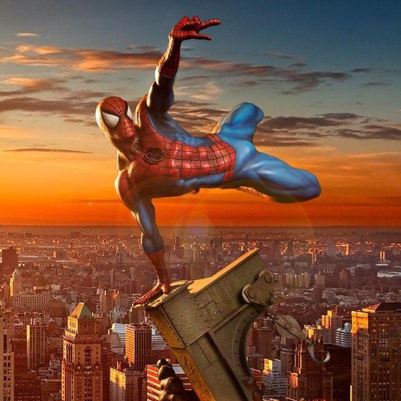 Superhero Spiderman Black Spiderman Venom Symbiont Scene Pvc Action Figure Collectible Model Toy with box 28cm
