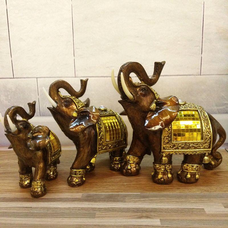 Éléphant Figurines avec Tronc Résine Jardin Chiffres Chanceux Statues D'éléphants Feng Shui Sculpture Cadeaux À Collectionner Décor À La Maison
