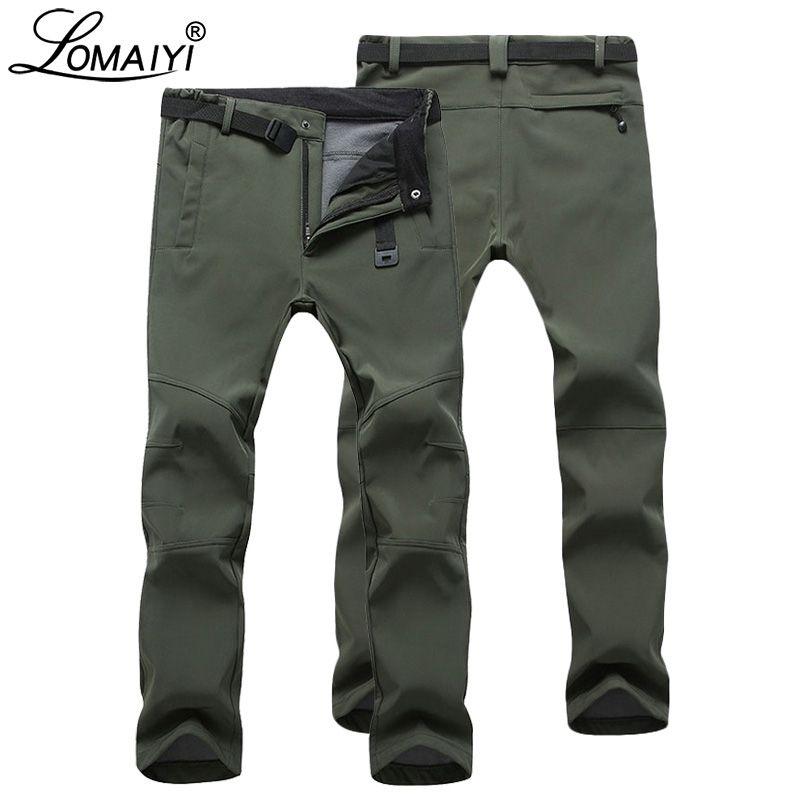 LOMAIYI Hommes de Chaud pantalons d'hiver Pour Hommes Stretch Wateproof Pantalon Hommes Pantalons Thermiques Mâle Noir décontracté Travail Pantalon Homme AM054