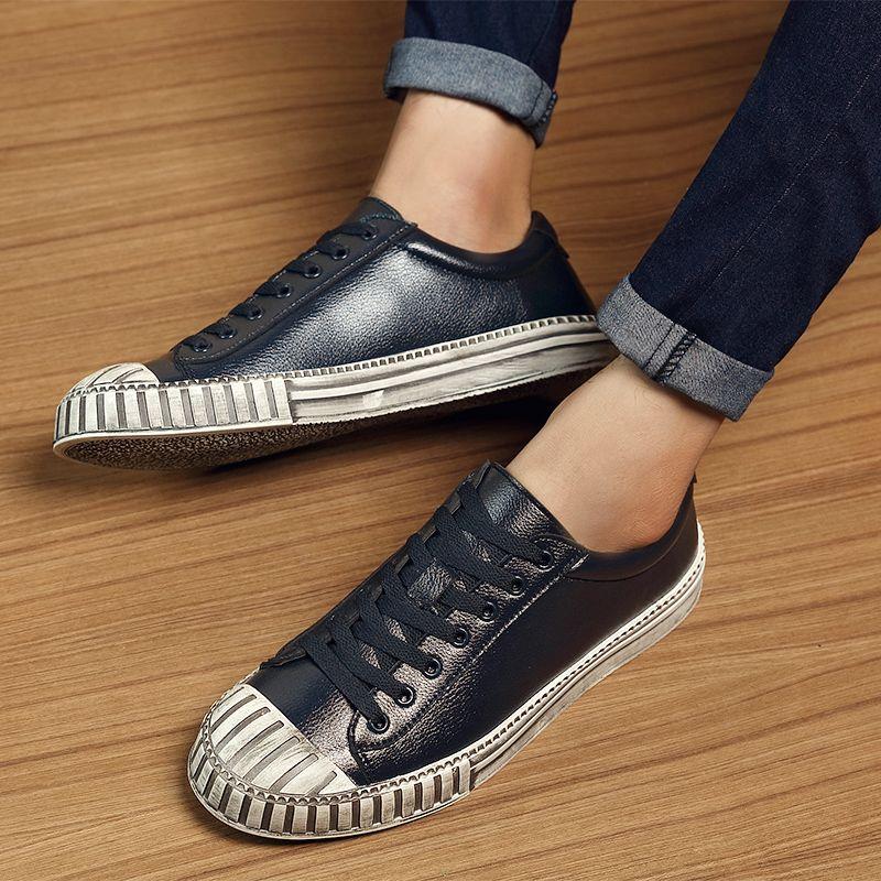 2017 The new ultra - fiber Korean version of the shell head board shoes men 's sports trend retro men  shoes wild