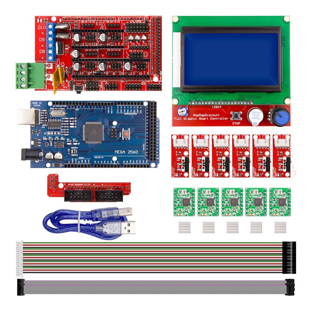 CNC 3D Imprimante Kit pour Arduino Mega 2560 R3 + RAMPES 1.4 Contrôleur + LCD 12864 + 6 Fin de Course Endstop + 5 A4988 Stepper Pilote
