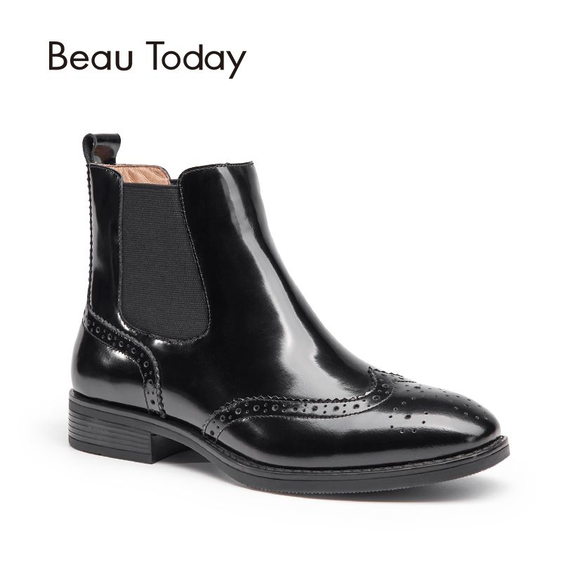BeauToday Genuine Leather Chelsea Boots Women Top Quality Patent Leather Elastic Brand Ankle Brogue Style Shoes 03045