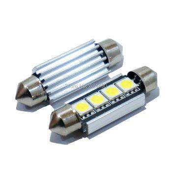 10 pcs/lot Feston CANBUS 41mm 42 MM C5W ERREUR LIVRAISON 5050 4 LED SMD Intérieur Blanc Dôme Lumière Source toit Ampoule Lampe