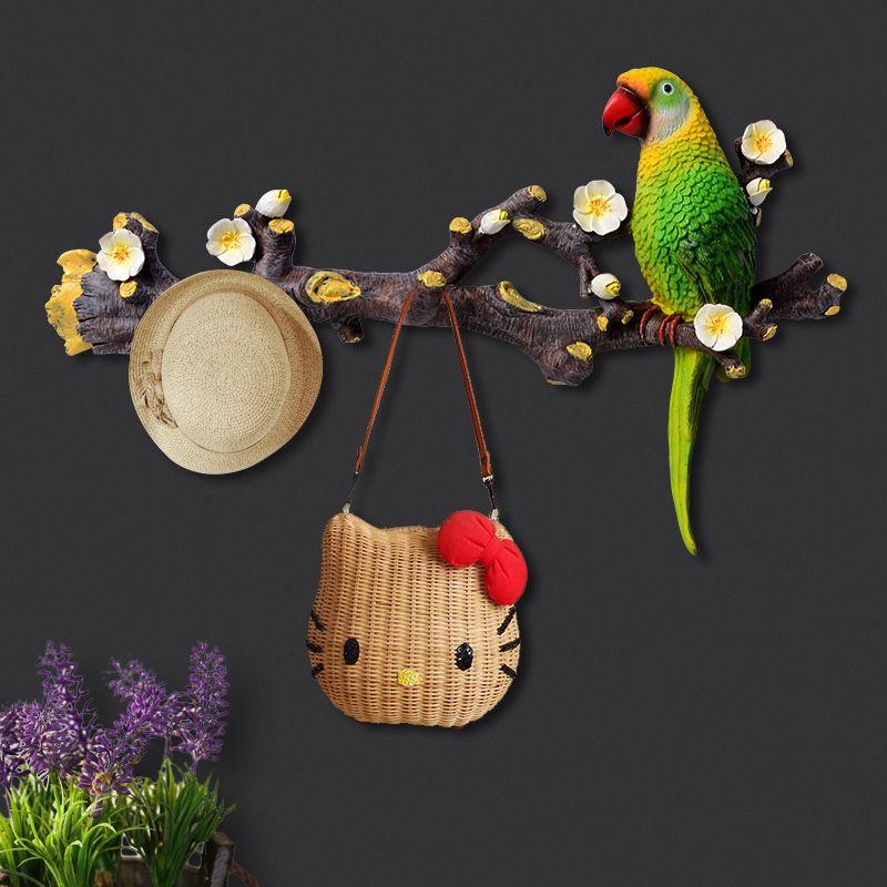 3D Papagei Harz Haken Kreative Hause Zimmer Dekorative Coathook Moderne Multicolor Vogel Wand Hängen Haus Wohnzimmer Tür Pothook