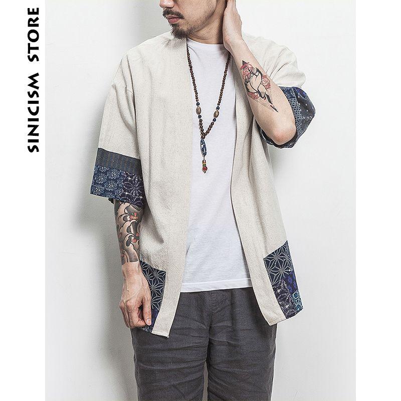 Sinicism Kimono Shirt Men Chinese Streetwear Vintage Kimono Shirt Men Linen Kimono Cardigan Men Shirt Plus Size 5XL 2018