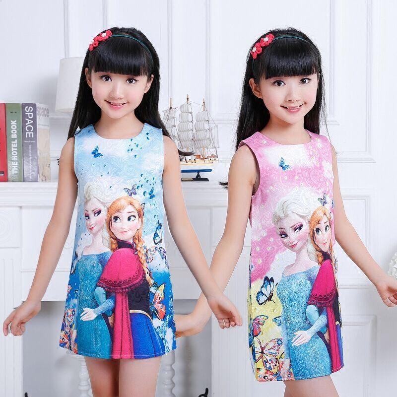 2016 D'été enfants de vêtements filles robes elsa princesse robe pour fille snow Queen infantile enfants costume party bébé vêtements