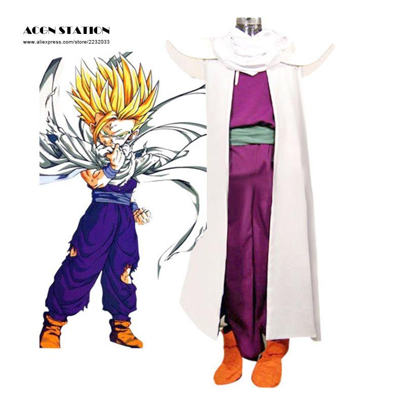 2018 free shipping Dragon Ball Son Gohan Piccolo Lord Super Saiyan Fighting Uniform Cosplay Costume White Cloak Customize