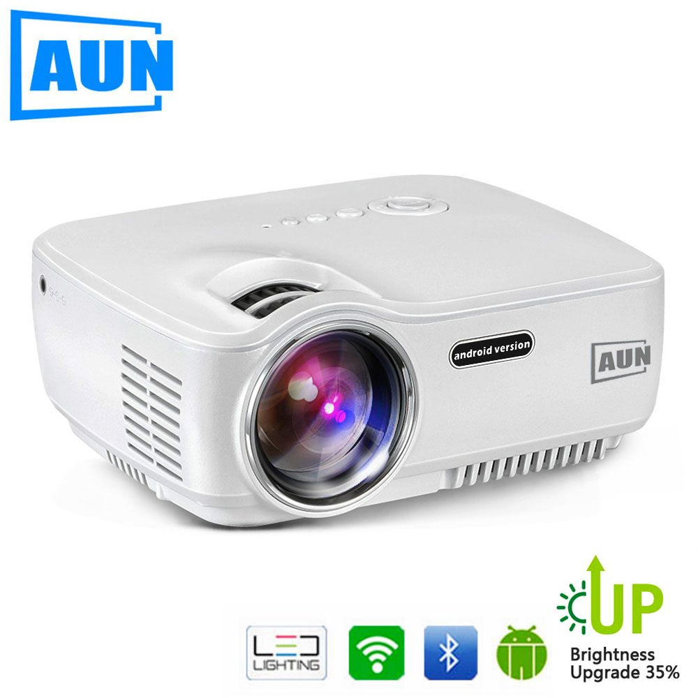 AUN Projector Upgraded AM01S 1800 Lumens LED Projector Set in Android 4.4 WIFI Bluetooth <font><b>Support</b></font> Miracast Airplay KODI AC3 1080P