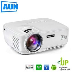 AUN Proyektor Upgrade AM01S 1800 Lumens LED Proyektor Set Di Android 4.4 WIFI Bluetooth Mendukung Miracast Airplay AC3 1080 P