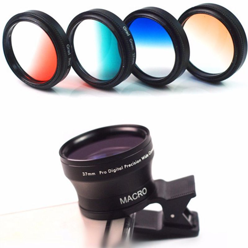 Universal 11 In 1 Wide Angle Macro Lens for Smartphone CPL Polarizer Gradient Filter Lens With Clip For Samsung Mobile Phones