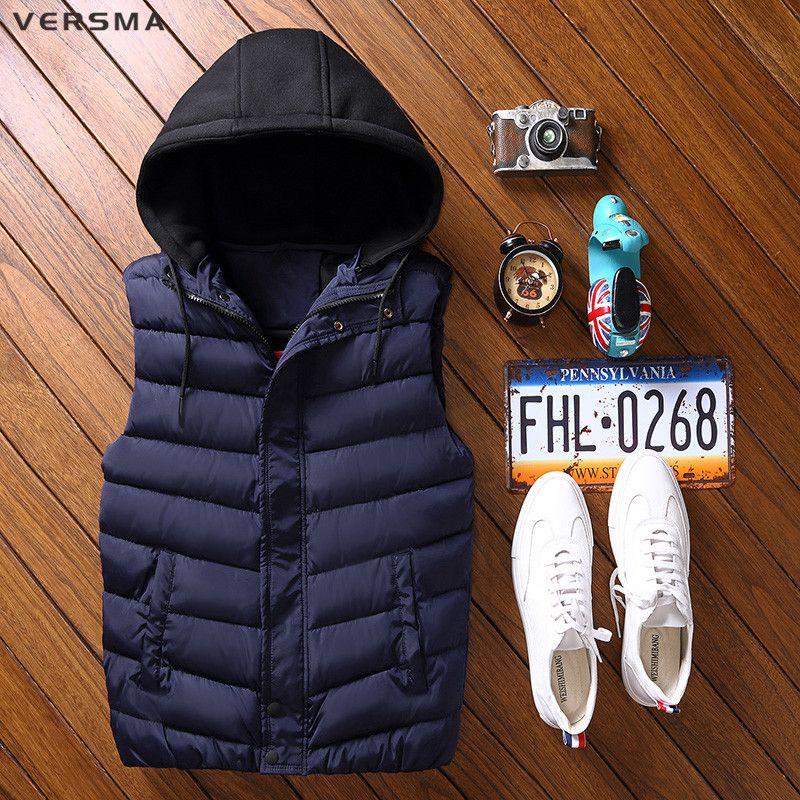 VERSMA 2017 Korean Winter Warm Cotton Down Journalist Vest Waistcoat Men Sleeveless Jacket Green Hooded Men Vest 7XL Plus Size