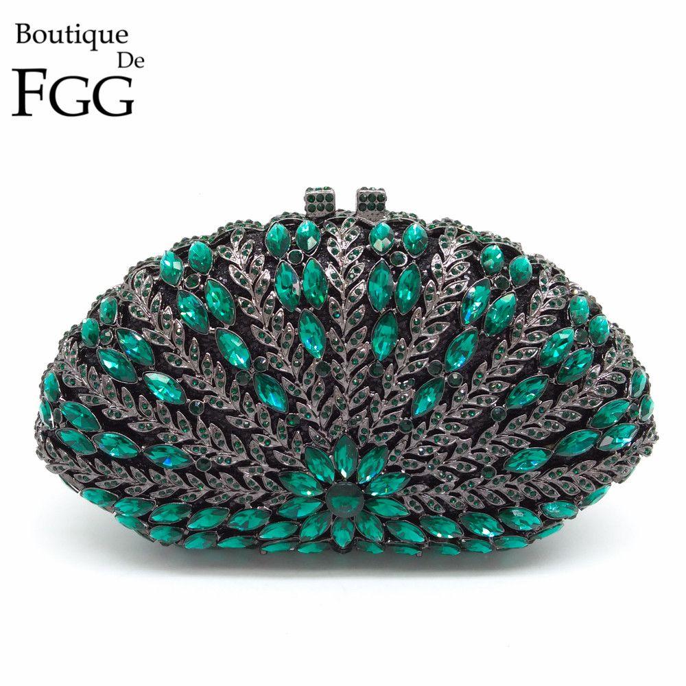 Women Black Glitter Beryl Green Crystal Diamond Evening Box Bag Clutches Purse Metal Hollow Clutch Ladies Wedding Party Handbags