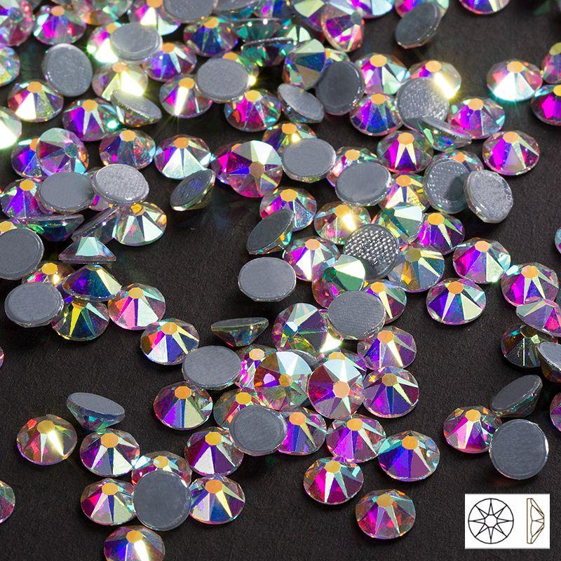 Nouvelle coupe facettes 8 big 8 petit dos chaud SS16 SS20 SS30 cristal AB fer sur Strass hot Fix Strass pour vêtements Strass