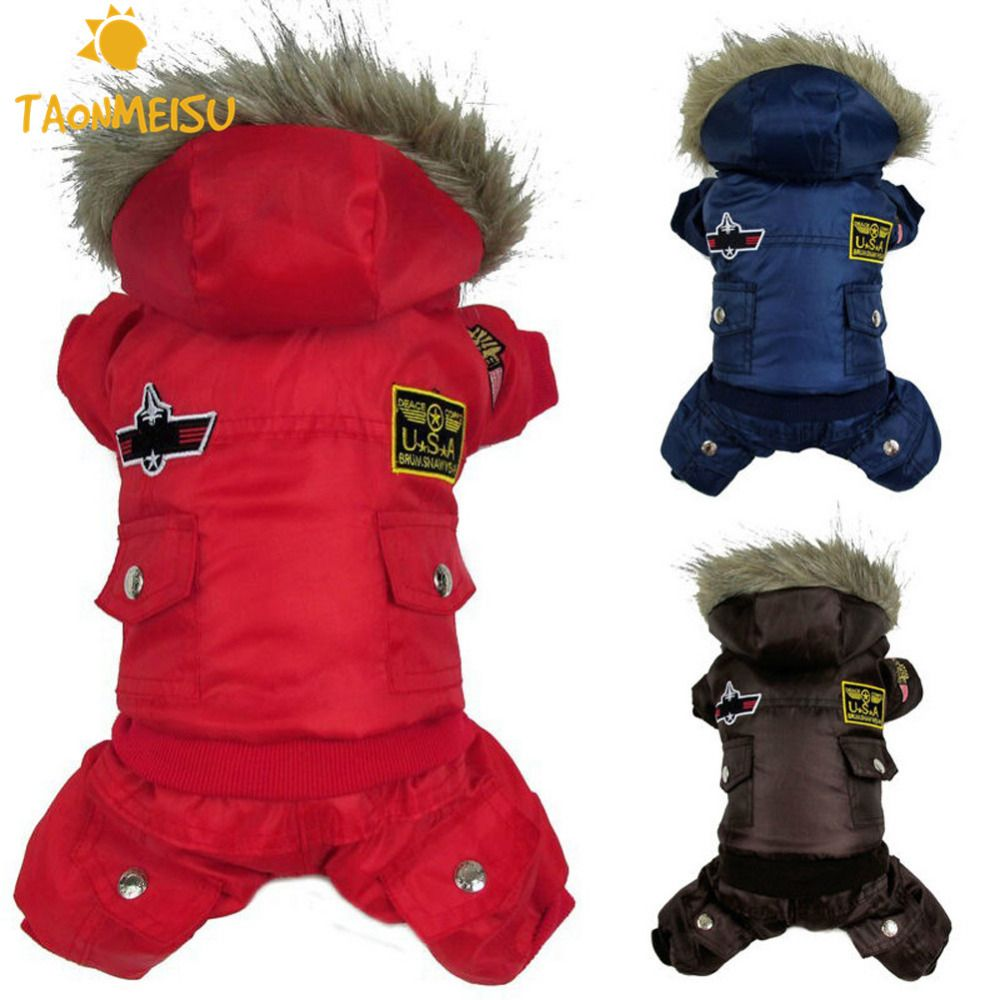 Pet Clothes Winter Warm Small Cute Dog Pet Clothes Padded Hoodie Jumpsuit Pants Apparel Pet Dog Cloth