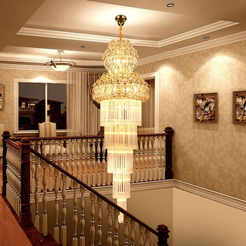 K9 Gold Kristall Kronleuchter Glanz Treppen Kronleuchter Moderne Led Kronleuchter leuchten Hotel Villa Lobby Gang Engineering