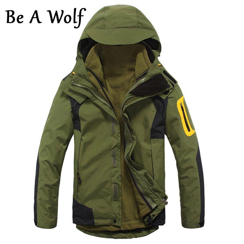Werden EIN Wolf Wandern Jacke Männer der 2 in1 Innere Fleece Wasserdichte Outdoor Sport Warme Mantel Camping Trekking Skifahren Männlich jacken 28