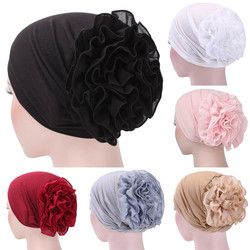 Femmes Floral Dentelle Turban Chapeau Inde Cap Chapeaux Musulmans Filet À Cheveux Chimio Cap Fleur Bonnet Beanie