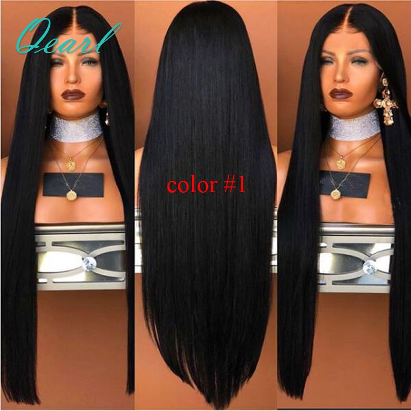 150% 180% Silky Straight Lace Front Human Hair Wigs Brazilian Virgin Hair Pre Plucked Middle Part Wig with Baby Hair Qeal Hair