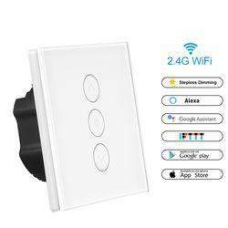 Smart Variateur de Lumière US/Standard de L'UE Dans Le Mur Tactile Contrôle WiFi Interrupteur Travail avec Alexa Google Assistant IFTTT