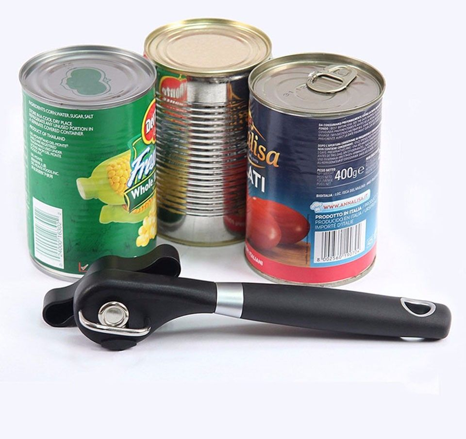 1pc Plastic Professional Kitchen Tool Safety Hand-actuated Can Opener Side Cut Easy Grip Manual Opener Knife for Cans Lid