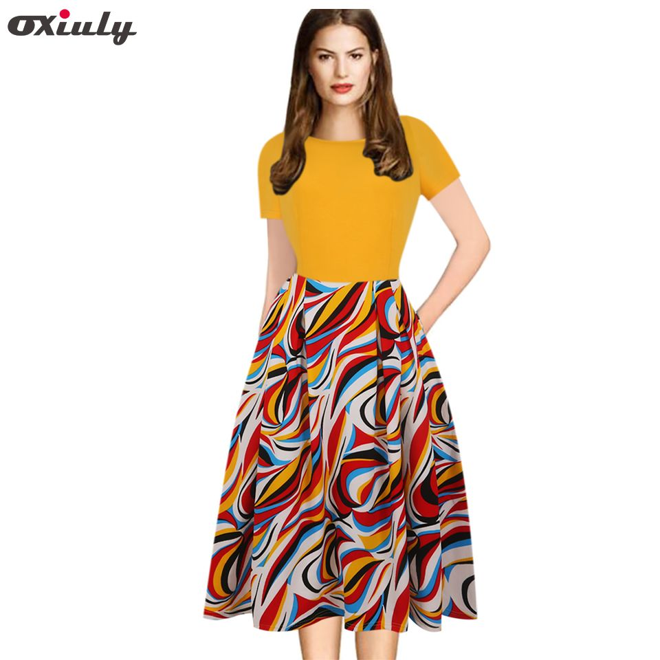 Oxiuly 3XL 4XL 5XL Women Yellow Flower Print Contrast Patchwork Tunic Retro Casual Work Party Fit and Flare A-line Skater Dress