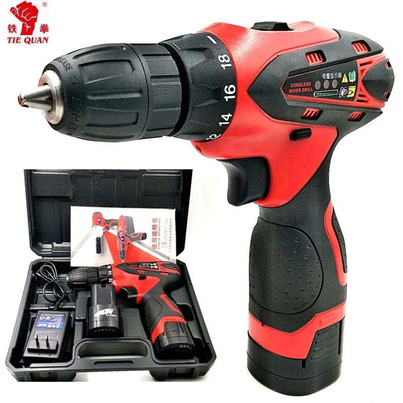 16.8V Screwdriver Batteries drill Mini Drill double speed lithium electric drill Power Tools Cordless electric Drill Eu plug