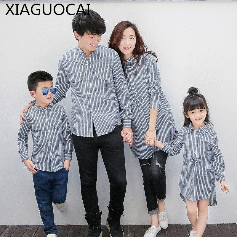 Xiaguocai Наборы для семьи Мать и дочь Повседневное рубашка в клетку, блуза Отца и Сына рубашка Весна Осень Семья L61 35