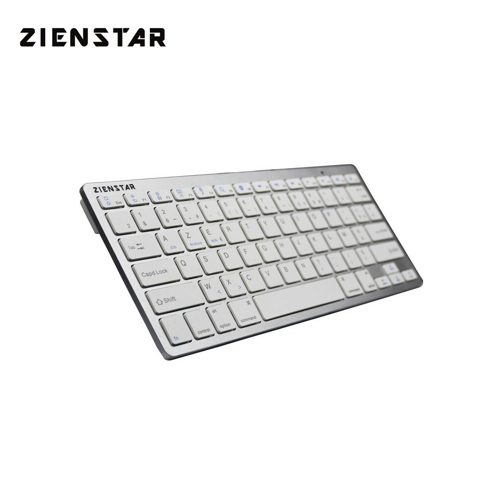Zienstar AZERTY French Language Slim Bluetooth Wireless Keyboard for ipad/Iphone/Macbook/PC computer/Android Tablet