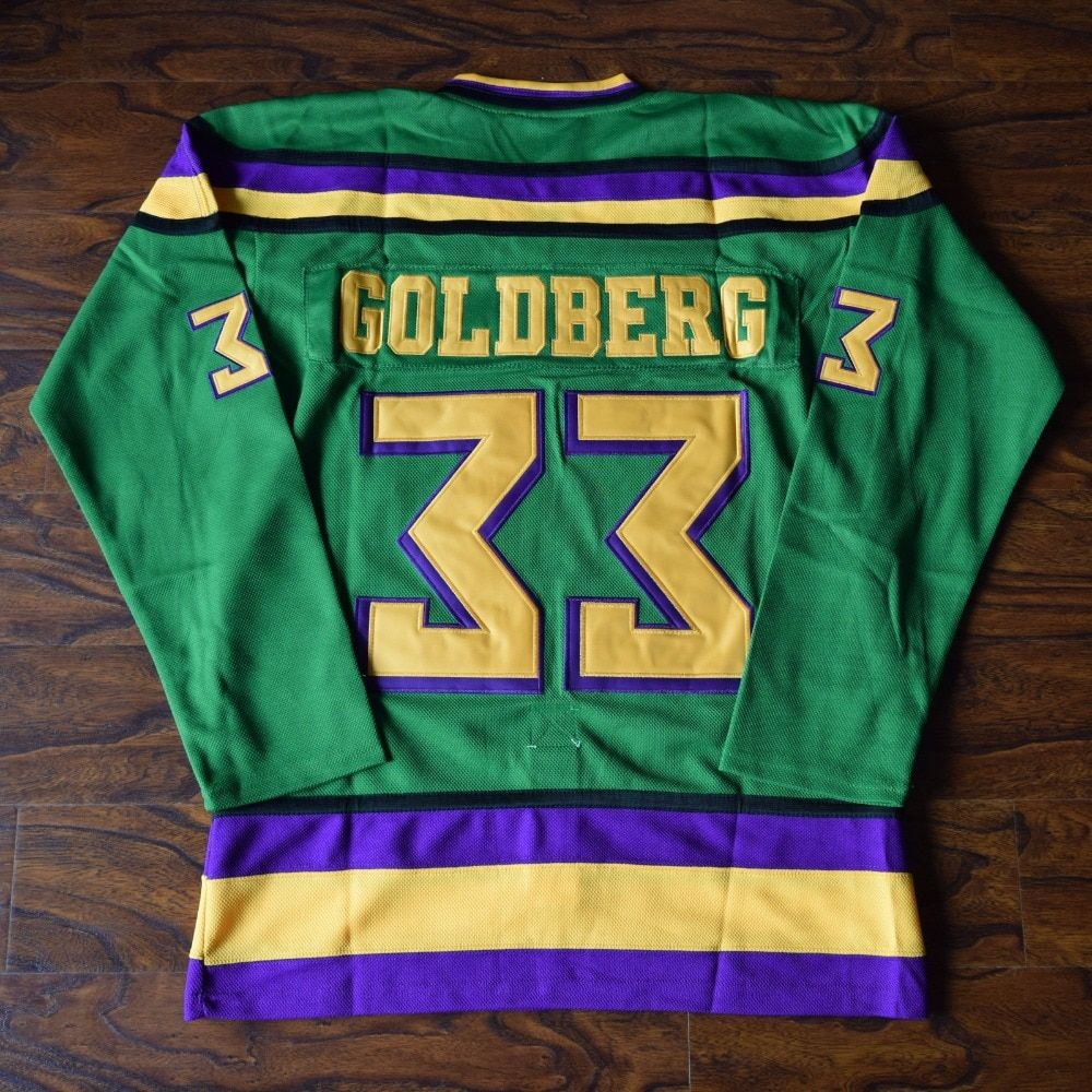 MM MASMIG Greg Goldberg #33 Mighty Ducks Ice Hockey Jersey Stitched Green