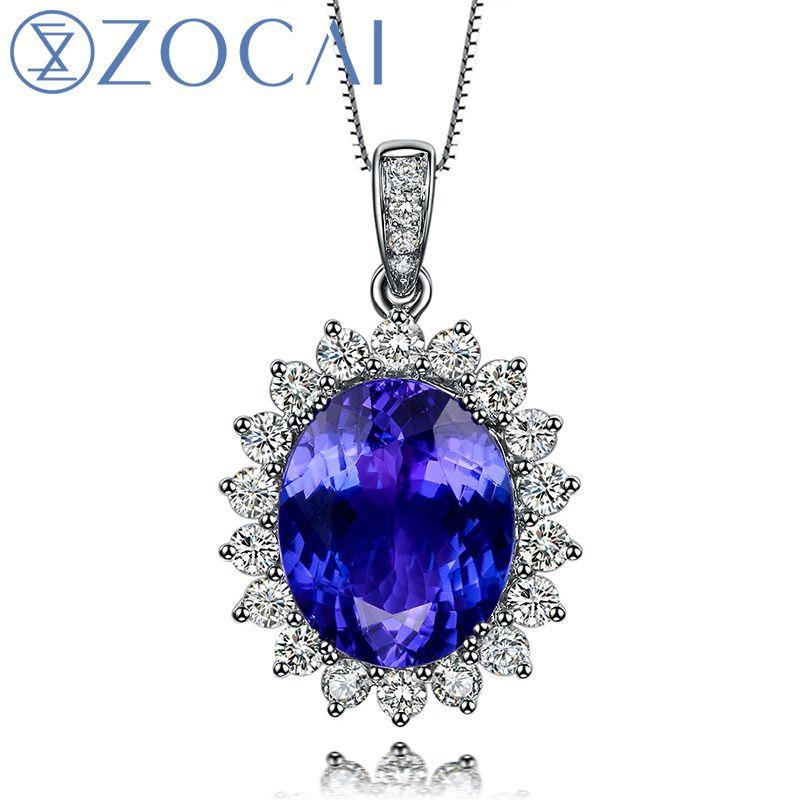 ZOCAI BRAND Blue of Charm 3.0 CT Tanzanite 0.4 ct DIAMOND18K Solid white Gold Pendant 925 STERING SILVER CHAIN NECKLACE D03915