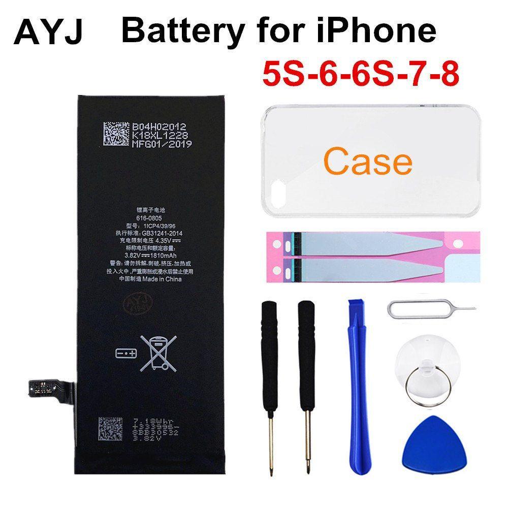 AYJ 1 pièce nouvelle batterie de téléphone de qualité AAAAA pour iPhone 6S 6 5S 5C 7 8 boîtier à autocollants sans outil haute capacité réelle sans Cycle